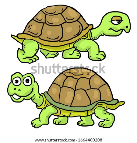 cartoon two turtles slowly