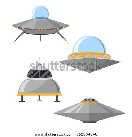 cartoon ufo cosmic ship and
