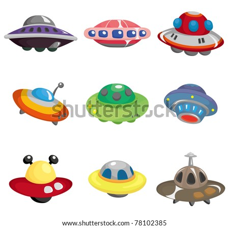 cartoon ufo spaceship icon set