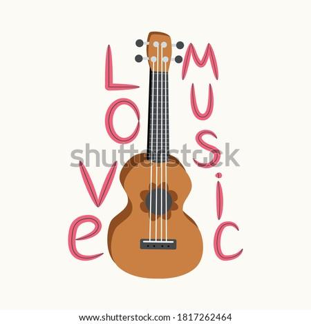cartoon ukulele with lettering