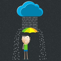 Cartoon umbrella, The concept of data protection, Vector illustration
