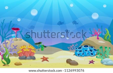 Cartoon underwater vector illustration. Undersea world. Ocean bottom with sand, shells, stones and sea weeds. Aquarium background for game design