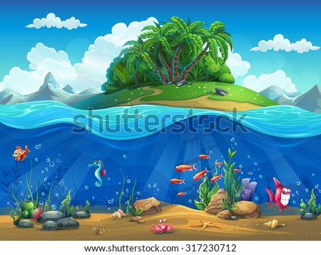 stock-vector-cartoon-underwater-world-with-fish-plants-island