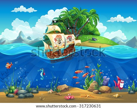 cartoon underwater world with