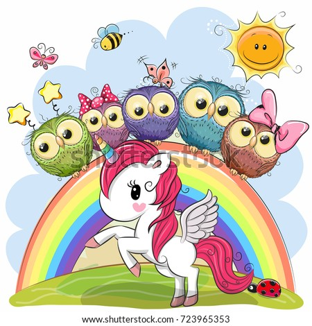 cartoon unicorn and five cute
