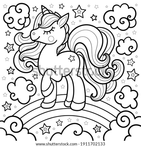 Cartoon unicorn on a rainbow. Doodle style. Fantastic animal. For the design of coloring books, prints, posters, stickers, tattoos. Vector