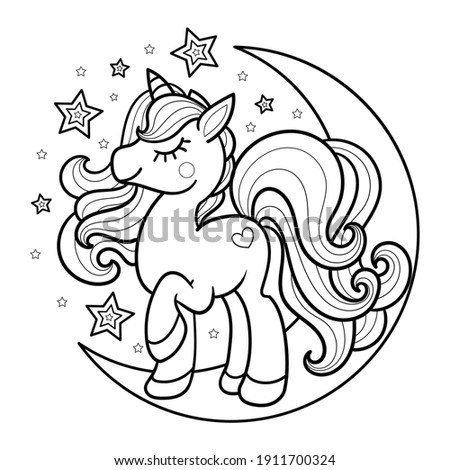 Cartoon unicorn on the moon. Cute fantasy image. For the design of coloring books, prints, posters, posters, postcards, tattoos. Vector