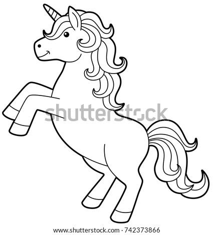 cartoon unicorn standing line