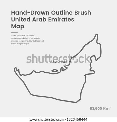 Cartoon United Arab Emirates Map, Hand Drawn United Arab Emirates Map, Doodle United Arab Emirates Map Vector Outline Style Map Information
