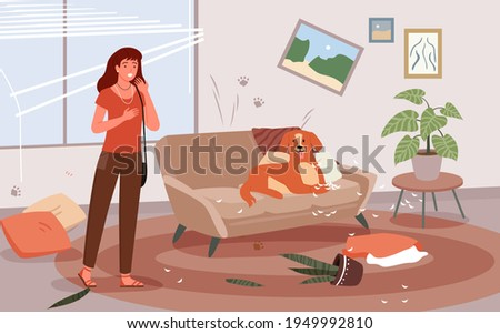 Cartoon upset woman scolding dog for mess and damaged furniture, frustrated female character about bad behaviour of domestic doggy puppy animal background. Problem of pet dog owner vector illustration Foto stock ©