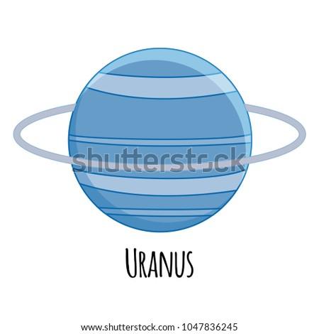 Cartoon Uranus  planet. Vector illustration isolated on white background.