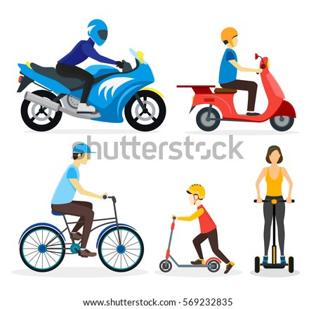 Cartoon Urban Street Transport Set People on Electric Scooter, on Motorbike, on Bicycle Flat Design Style Vector illustration