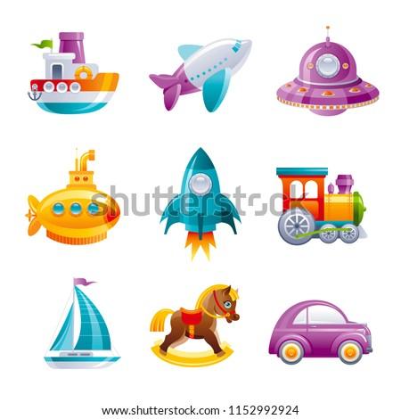 Cartoon сute vector toy transport set for boys, isolated on white background. 3d realistic baby toys set. Cartoon rocket train  car yacht UFO yellow submarine horse plane. Retro emblem, flat sign