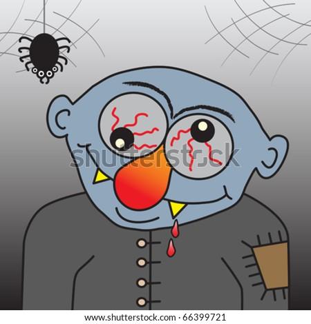 Cartoon vampire, funny vector illustration.