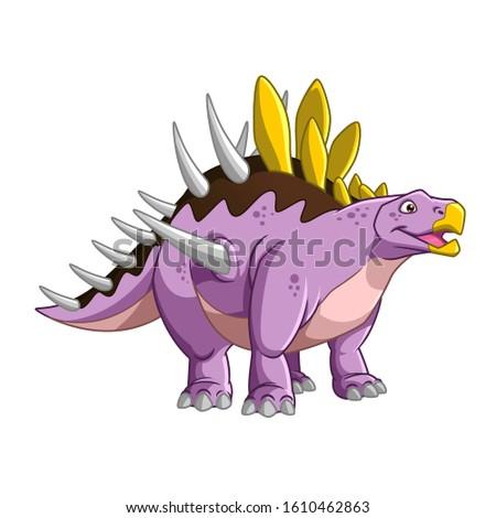 Cartoon Vector Big Dinosaur Kentrosaurus stock photo
