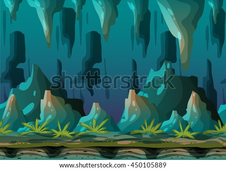 cartoon vector cave landscape