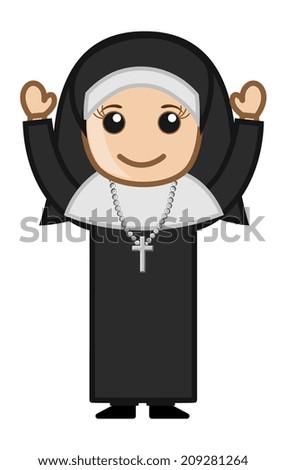 Cartoon Vector Character - Happy Religious Nun
