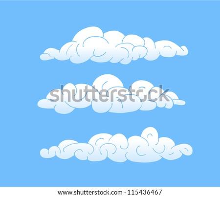 Cartoon Vector Clouds, blue sky - stock vector
