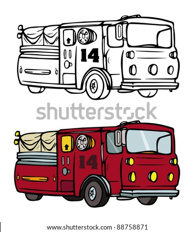 cartoon vector coloring book illustration of a fire truck