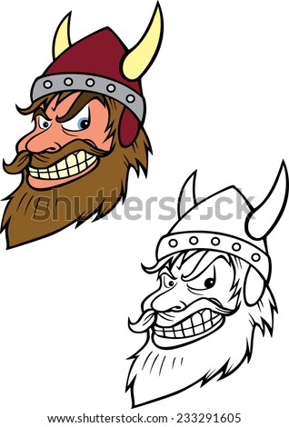 cartoon vector coloring book illustration of a Viking