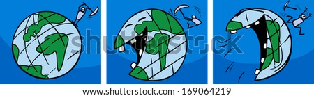 Cartoon Vector Concept Illustration of Ticklish Earth Planet Laughing Comic Story