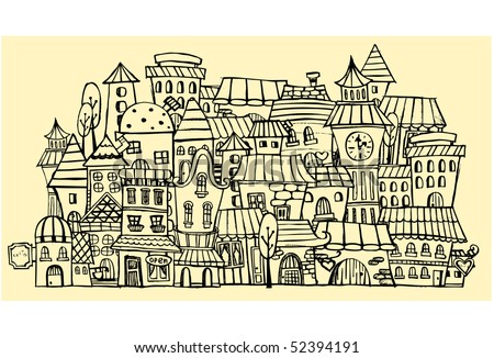 cartoon vector contour town - stock vector
