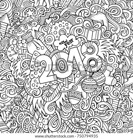 Cartoon vector cute doodles hand drawn 2018 year illustration. Sketchy vintage picture with new year theme items.
