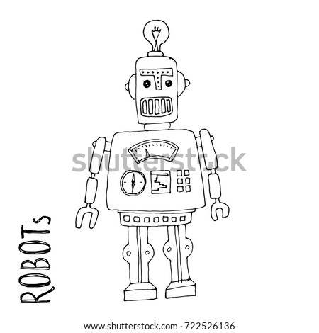cartoon vector doodle robot for kids coloring book