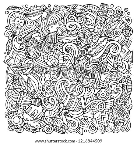 Cartoon vector doodles Africa illustration. Line art, detailed, with lots of objects background. All objects separate. Sketchy african culture funny picture