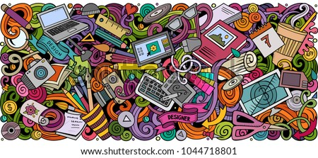 Cartoon vector doodles Art and Design horizontal stripe illustration. Colorful detailed, with lots of objects illustration. All items are separate - Shutterstock ID 1044718801