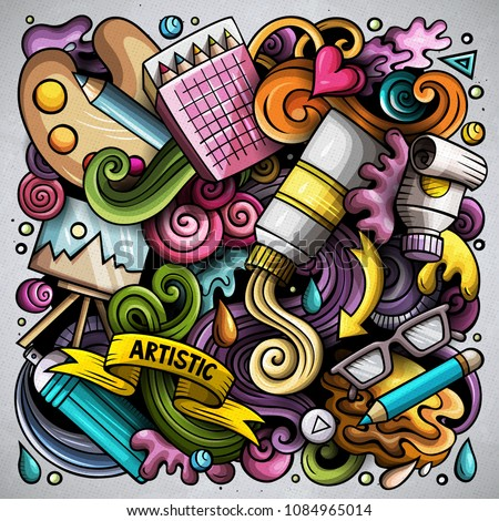 Cartoon vector doodles Art and Design illustration. Colorful, detailed, with lots of objects background. All objects separate. Bright colors artistick funny picture #1084965014
