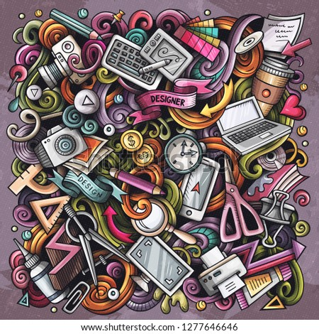Cartoon vector doodles Art and Design illustration. Colorful, detailed, with lots of objects background. All objects separate. Bright colors artistick funny picture #1277646646