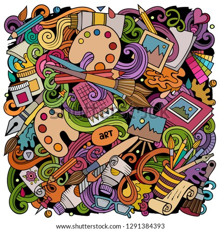 Cartoon vector doodles Art and Design illustration. Colorful, detailed, with lots of objects background. All objects separate. Bright colors artistic funny picture