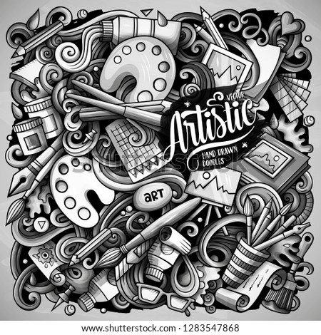 Cartoon vector doodles Art and Design illustration. Monochrome, detailed, with lots of objects background. All objects separate. Toned artistick funny picture