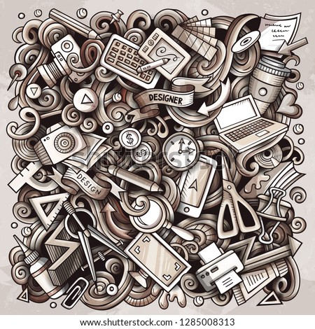 Cartoon vector doodles Art and Design illustration. Monochrome, detailed, with lots of objects background. All objects separate. Bright colors artistick funny picture