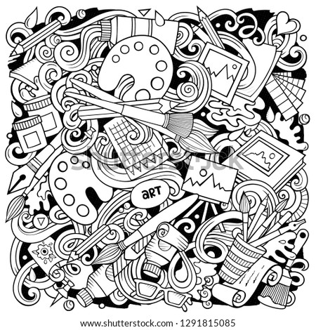 Cartoon vector doodles Art and Design illustration. Sketchy, detailed, with lots of objects background. All objects separate. Contour drawing artistic funny picture #1291815085