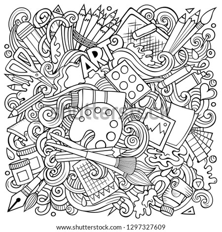 Cartoon vector doodles Art and Design illustration. Sketchy, detailed, with lots of objects background. All objects separate. Contour drawing artistic funny picture #1297327609