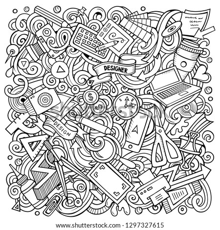 Cartoon vector doodles Art and Design illustration. Sketchy, detailed, with lots of objects background. All objects separate. Contour drawing artistic funny picture