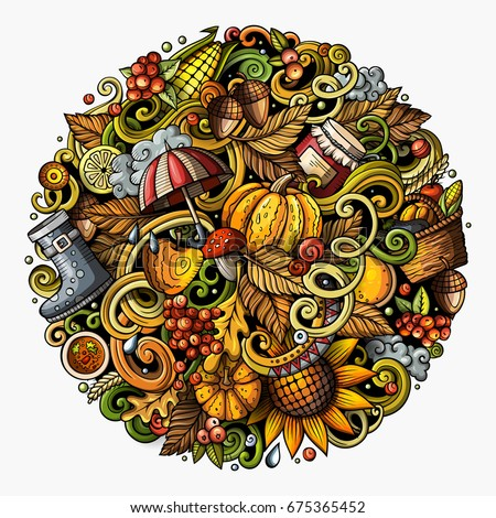 Cartoon vector doodles Autumn round illustration. Colorful detailed, with lots of objects background. All items are separate. Bright colors fall funny picture