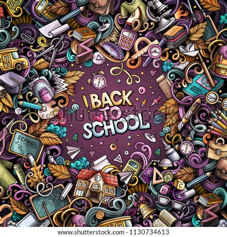 Cartoon vector doodles Back to school frame. Colorful, detailed, with lots of objects background. All objects separate. Bright colors education funny border #1130734613