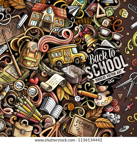 Cartoon vector doodles Back to school frame. Colorful, detailed, with lots of objects background. All objects separate. Bright colors education funny border #1136134442