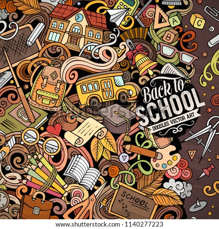 Cartoon vector doodles Back to school frame. Colorful, detailed, with lots of objects background. All objects separate. Bright colors education funny border #1140277223