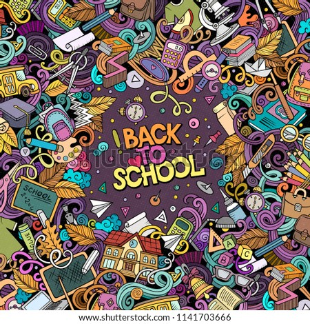Cartoon vector doodles Back to school frame. Colorful, detailed, with lots of objects background. All objects separate. Bright colors education funny border