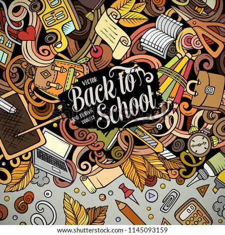 Cartoon vector doodles Back to school frame. Colorful, detailed, with lots of objects background. All objects separate. Bright colors education funny border #1145093159