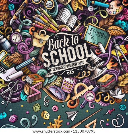 Cartoon vector doodles Back to school frame. Colorful, detailed, with lots of objects background. All objects separate. Bright colors education funny border #1150070795