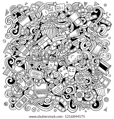 Cartoon vector doodles Cinema illustration. Line art, detailed, with lots of objects background. All objects separate. Sketchy Movie funny picture