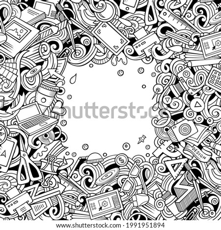 Cartoon vector doodles Design card. Sketch detailed, with lots of objects illustration. All items are separate. Artistic funny border.