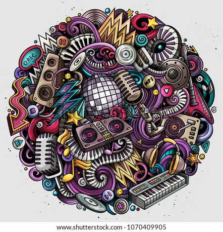 Cartoon vector doodles Disco music round illustration. Colorful, detailed, with lots of objects background. All objects separate. Bright colors musical funny picture #1070409905