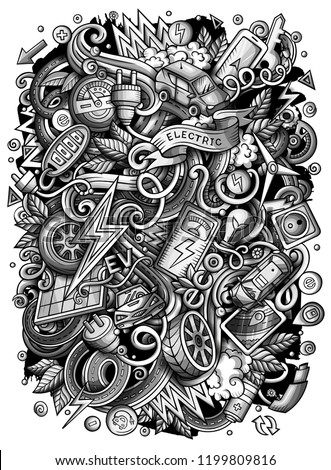 Cartoon vector doodles Electric cars illustration. Monochrome, detailed, with lots of objects background. All objects separate. Toned funny picture