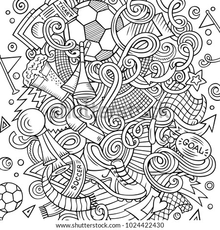 Cartoon vector doodles Football illustration. Colorful, detailed, with lots of objects background. All objects separate. Bright colors Soccer funny picture #1024422430